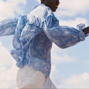 Tops - Zara blue white floral print blouse ruffle small